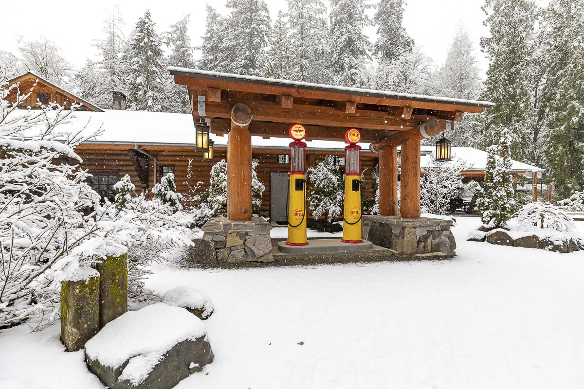 The vintage gas pumps at Summit Grove Lodge near La Center were a winter wonderland on Saturday. Photo by Mike Schultz