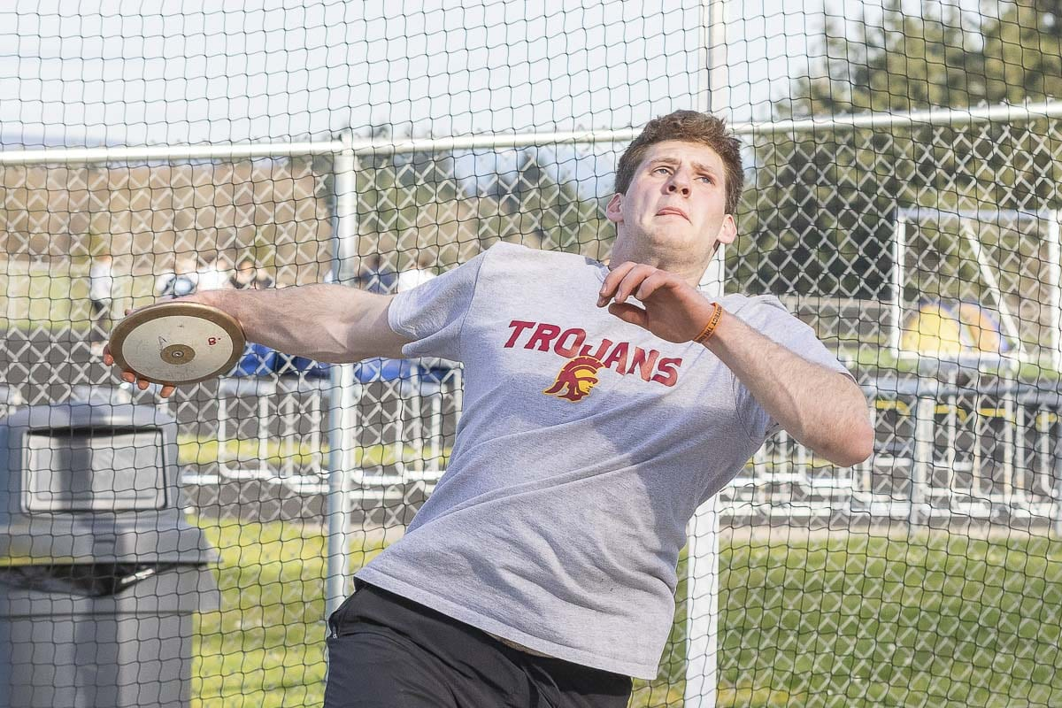Trey Knight of Ridgefield is the two-time state champion in discus and shot put. He hopes to be a three-time state champion in both events. Photo by Mike Schultz