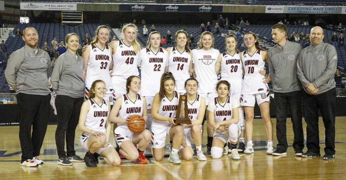 For the first time in program history, the Union girls basketball team earned a trophy at the state tournament, finishing fifth. Photo courtesy Heather Tianen