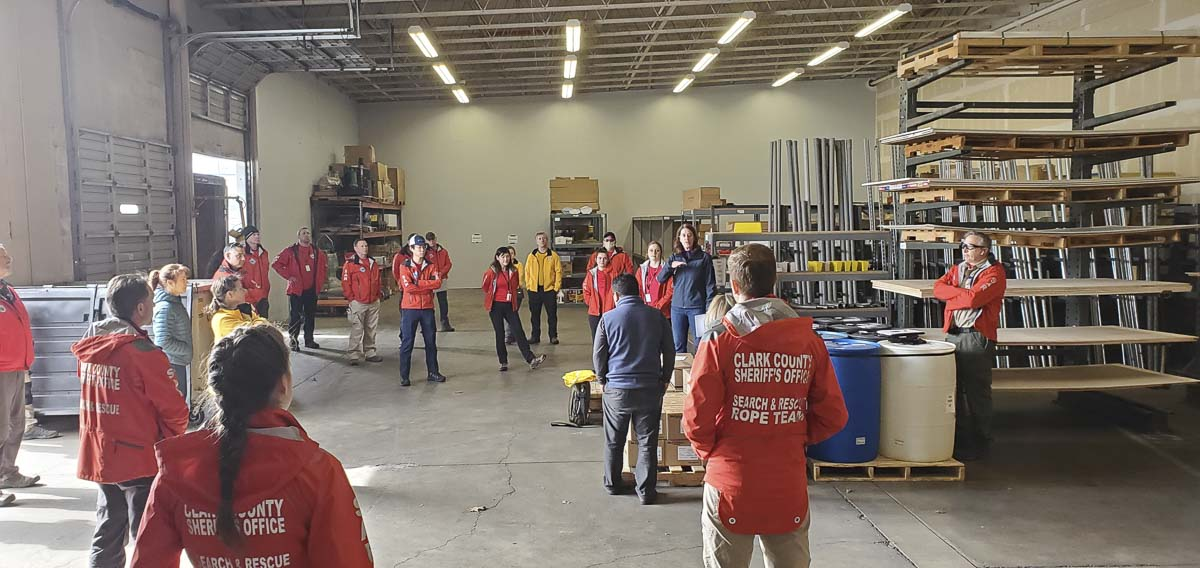 Robin Albrandt, Clark County Public Health, training local Search & Rescue volunteers in managing the supply warehouse. Photo courtesy CRESA