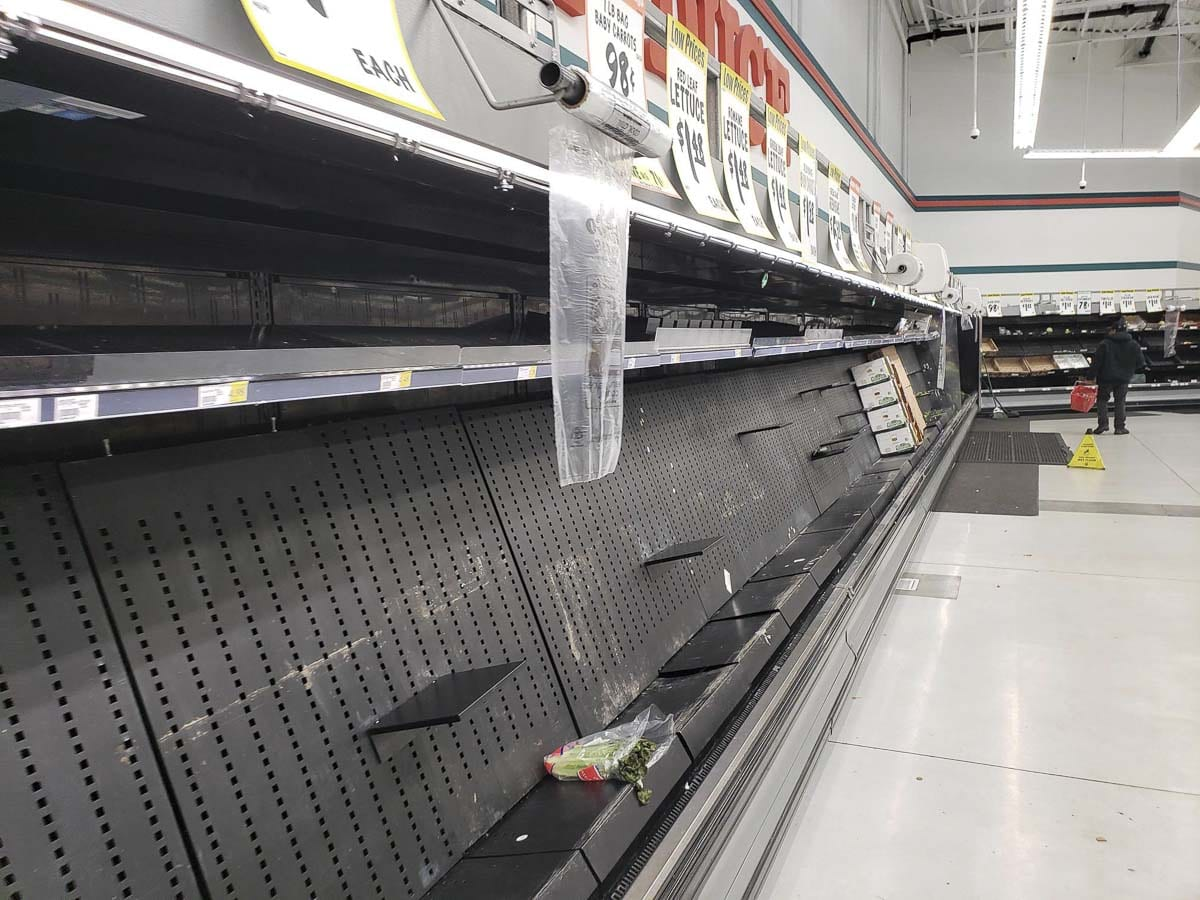 Produce shelves were largely barren Saturday afternoon at this Vancouver Winco location. Photo by Paul Valencia