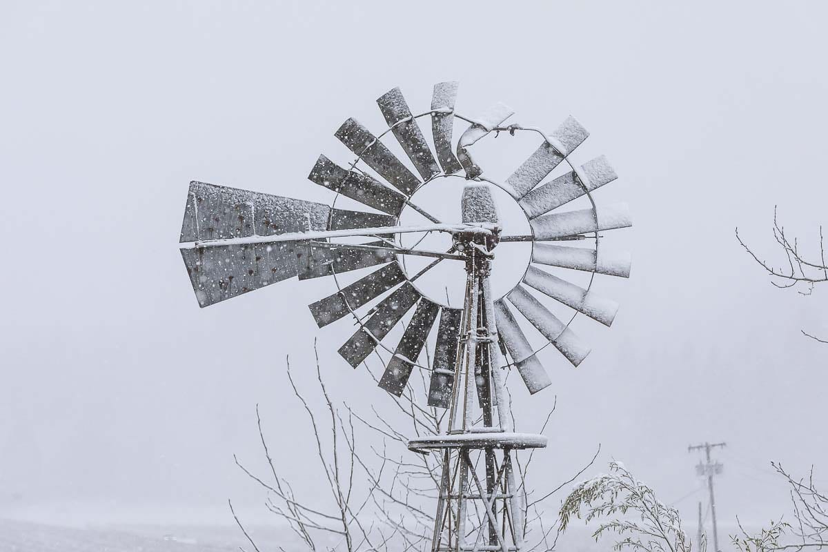Snow covers a windmill near Fargher Lake in north Clark County on Saturday morning. Photo by Mike Schultz