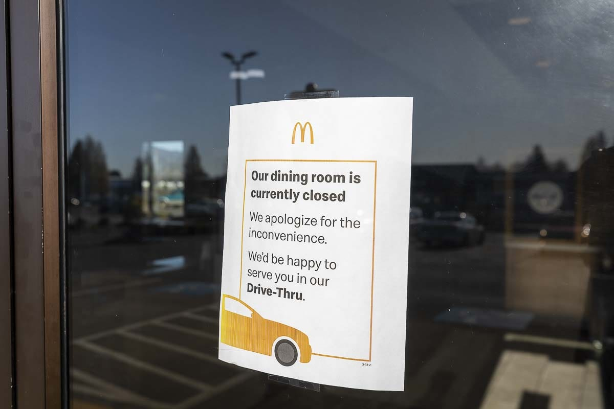 This sign greeted customers at the McDonald's in Woodland, where dine-in is no longer an option amid the COVID-19 outbreak. Photo by Mike Schultz
