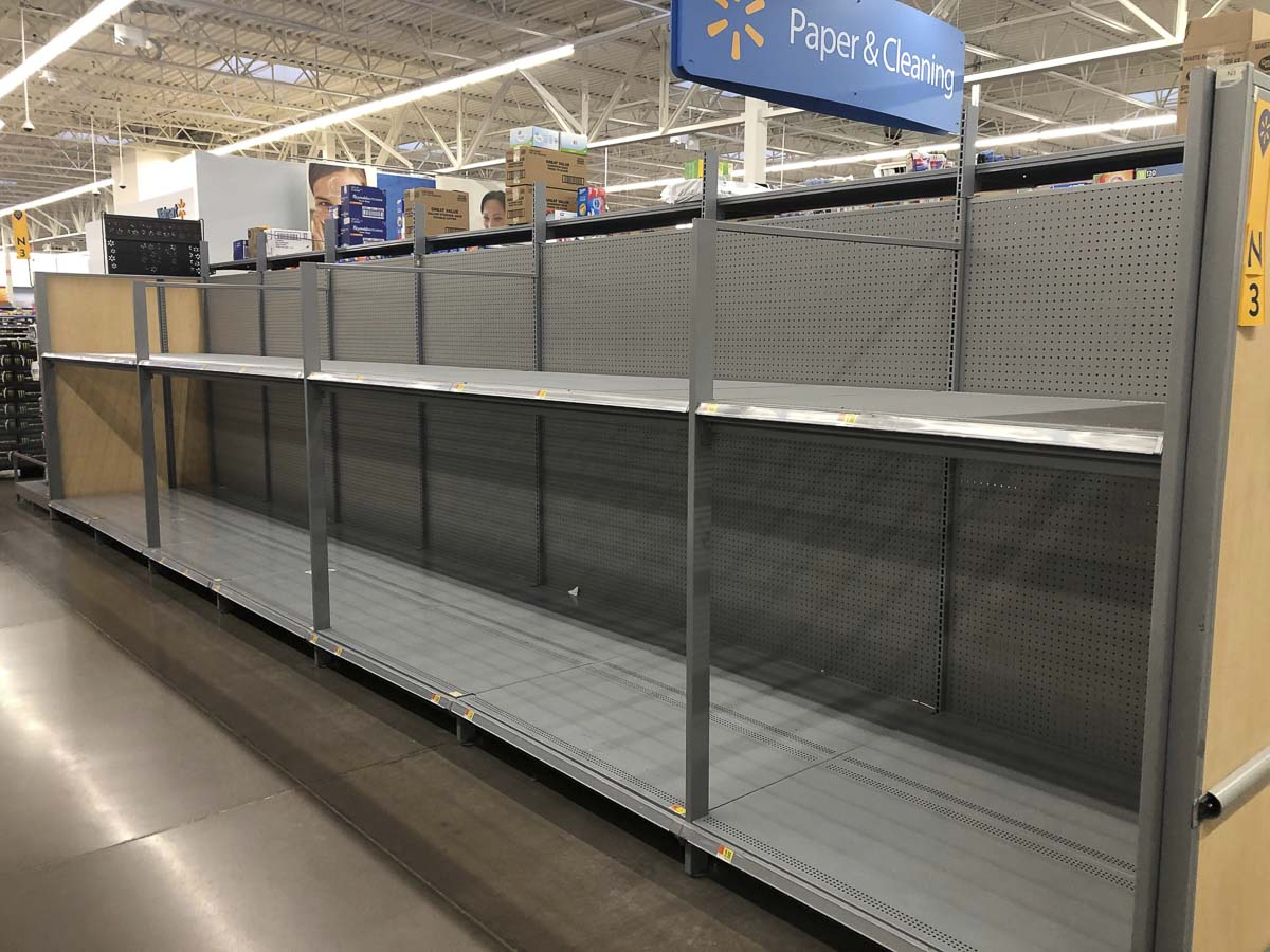 Empty shelves greeted anyone looking for toilet paper or paper towels at the Walmart in Woodland on Saturday. Photo by Mike Schultz