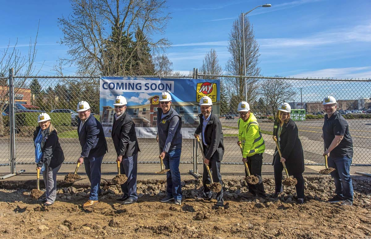 Joined by several local dignitaries including Ty Stober of the Vancouver City Council as well as John McDonagh and Janet Kenefsky of the Greater Vancouver Chamber of Commerce, the event engaged local leaders and community members alongside the My Place HQ team and hotel ownership to celebrate the groundbreaking on site Tuesday. Photo courtesy of My Place Hotels