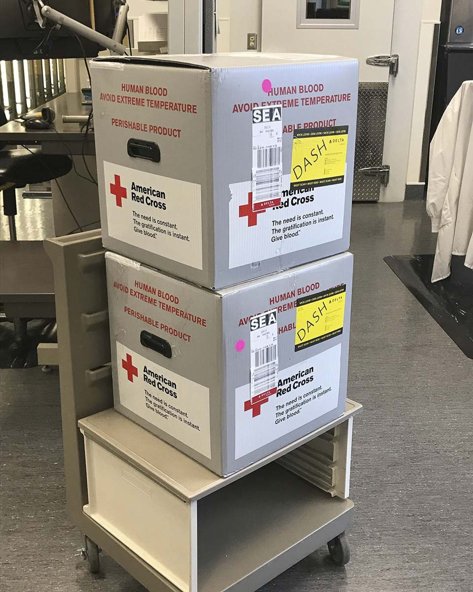 Blood from donation centers is shipped all over the region to area hospitals and distribution centers. Photo courtesy of Bloodworks NW