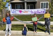Union Ridge Elementary teachers hold car parade to see students
