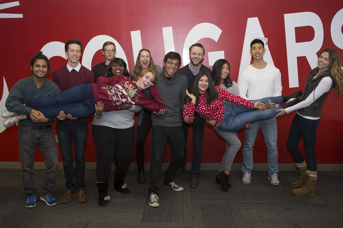 Vince Chavez (center) poses for a photo with his fellow WSUV student ambassadors from 2018-19. Photo courtesy of WSUV