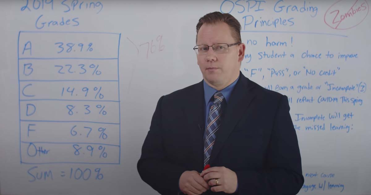 Washington State Schools Superintendent Chris Reykdal explains how grading will be handled in a video posted to YouTube. Photo courtesy Washington State Office of the Superintendent of Public Instruction