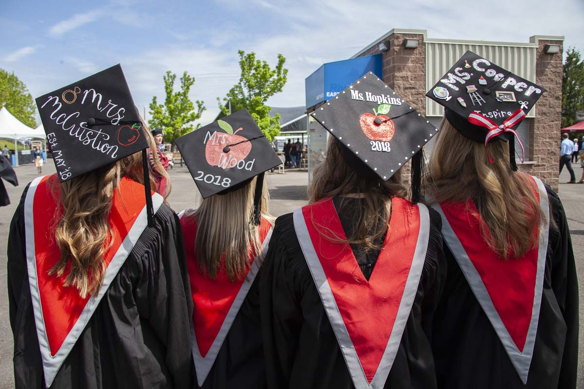 WSUV 2018 graduates show off their caps during commencement at the amphitheater in Ridgefield. WSUV still plans to have this type of commencement after the pandemic is over. Photo courtesy of WSUV