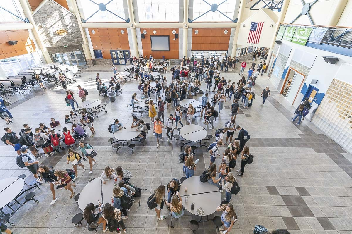There will be no more gatherings in the common area at Hockinson High School for the remainder of the school year, which was canceled Monday due to COVID-19. Photo by Mike Schultz