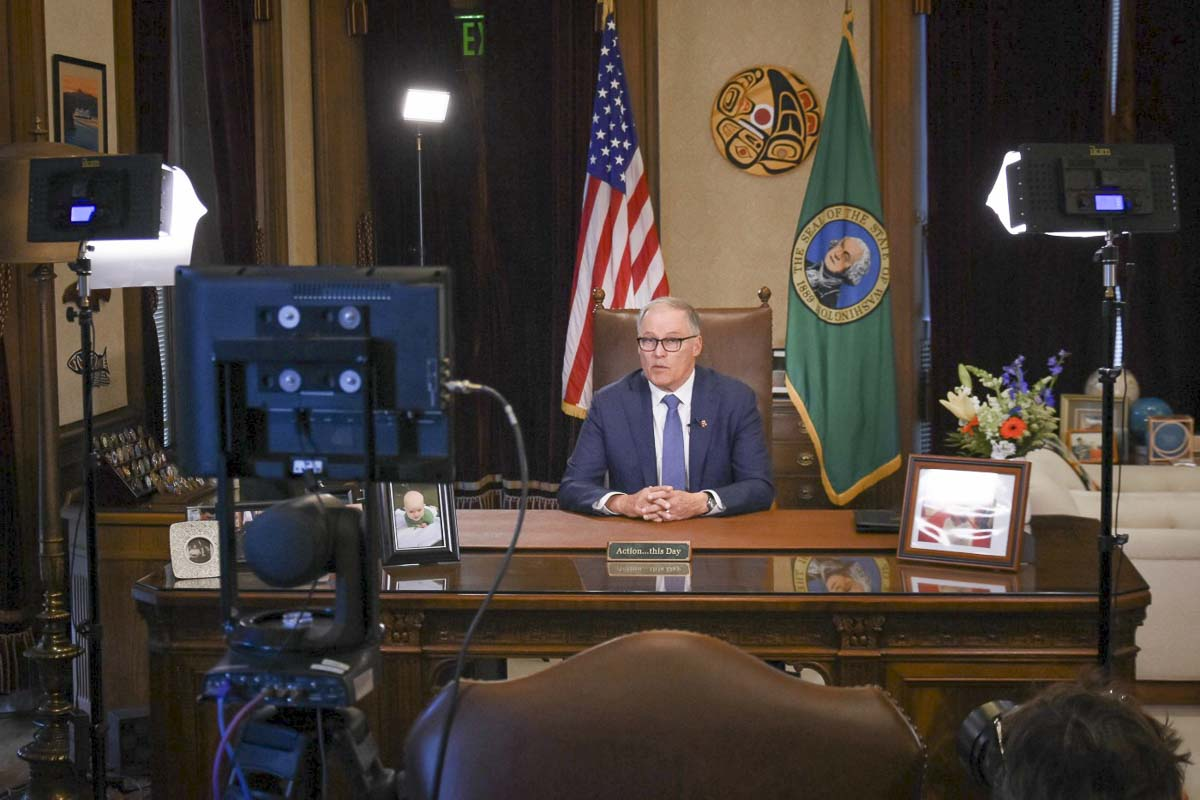 Washington Gov. Jay Inslee delivers an address from his office in Olympia. Photo courtesy office of Governor Jay Inslee