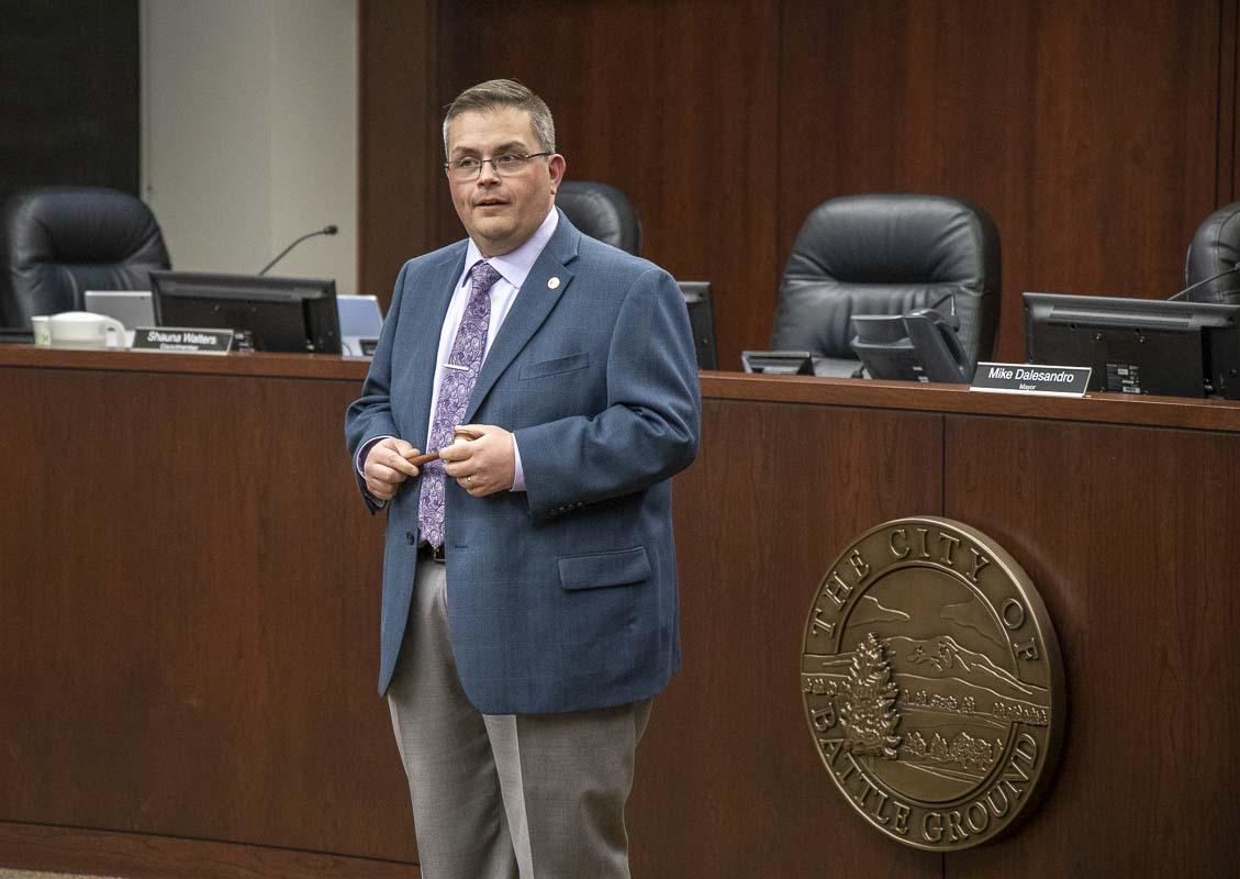 Battle Ground Councilor Mike Dalesandro is shown here at a ceremony in January marking the end of his time as the city's mayor. Photo by Chris Brown