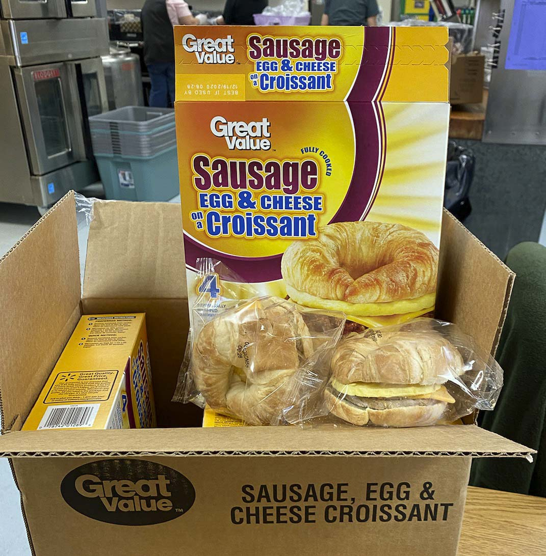 The 52 cases of breakfast sandwiches will provide over meals for more than 1,000 of Woodland's children. Photo courtesy of Woodland Public Schools