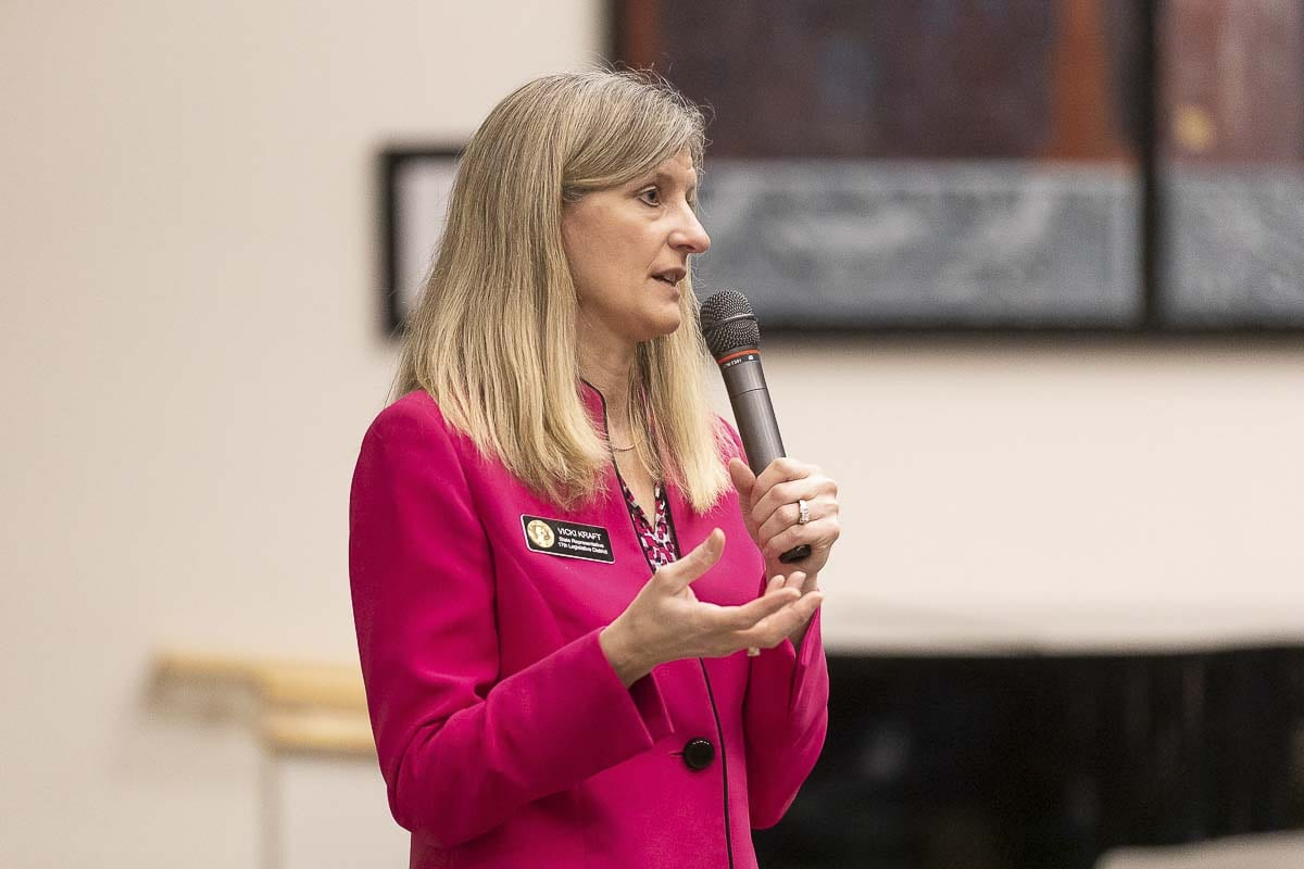 17th District Republican Vicki Kraft (R-Vancouver) speaks during a town hall meeting earlier this year at WSU Vancouver. Photo by Mike Schultz