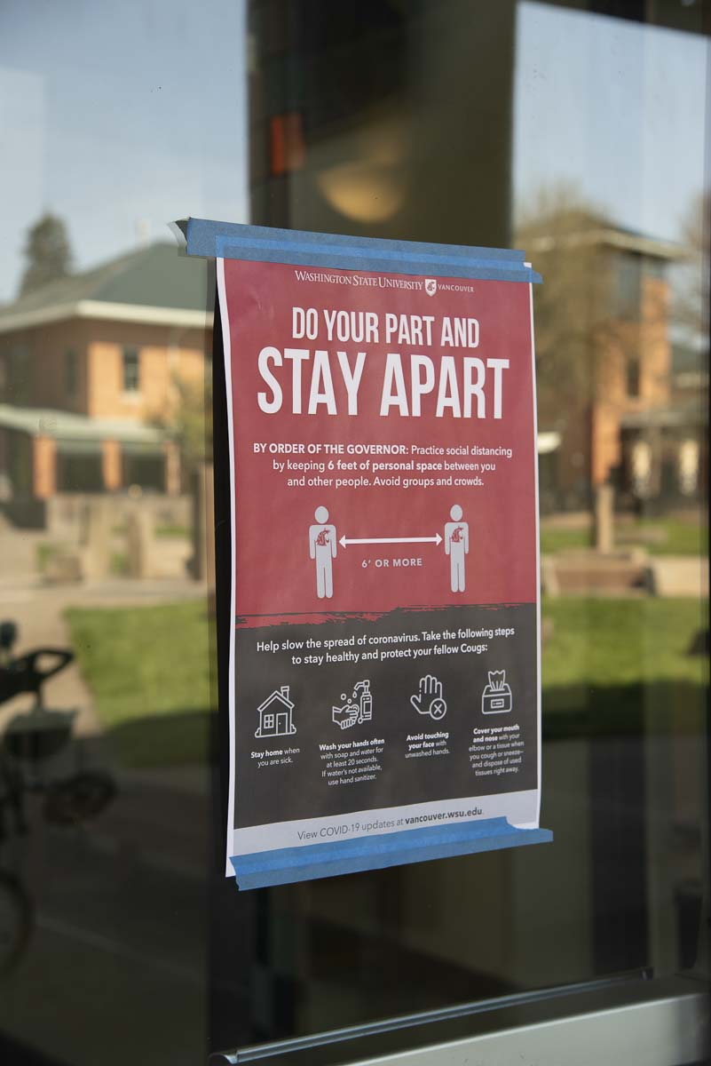 If students or staff are approved and need to go onto campus they are required to practice social distancing. Signs like these remind people to stay six feet apart. Photo courtesy of WSUV