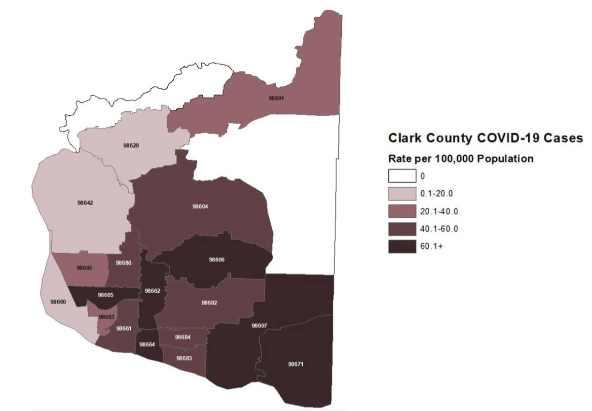 This map shows the number of COVID-19 cases by zip code in Clark County, per 100,000 residents. Image courtesy Clark County Public Health Department