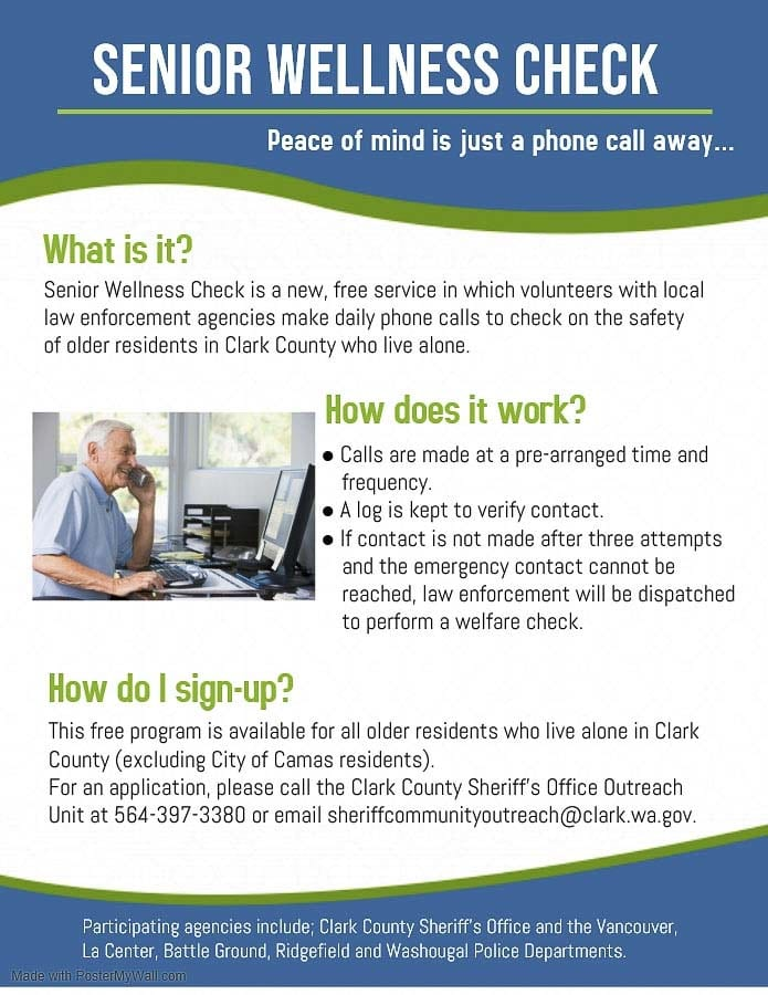 The timing of the Senior Wellness Check program is due to COVID-19 and the urgent need to provide a means of contact for the most vulnerable population, but it will be an ongoing service.