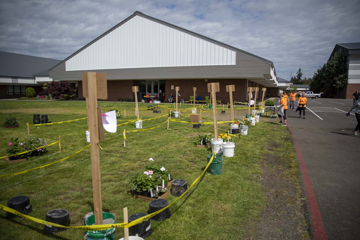 Orders await pickup outside of Battle Ground High School. This year's annual plant sale went online only amid the Covid-19 stay-at-home order. Photo by Jacob Granneman