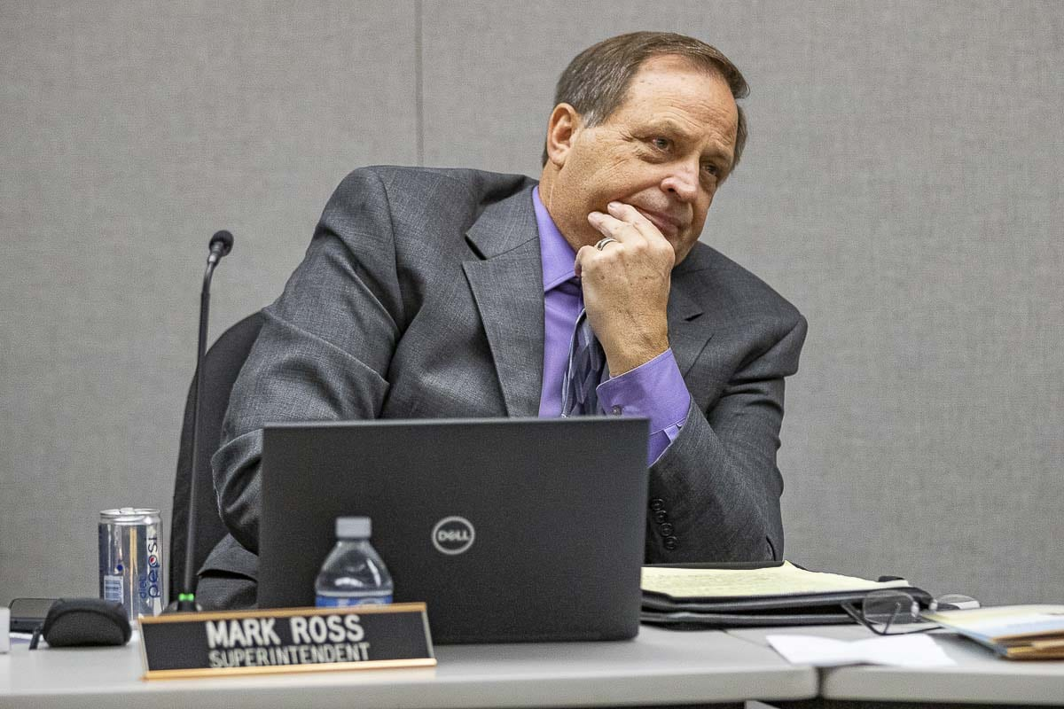 Battle Ground Public Schools Superintendent Mark Ross is shown here at a board meeting in October 2019. Photo by Mike Schultz