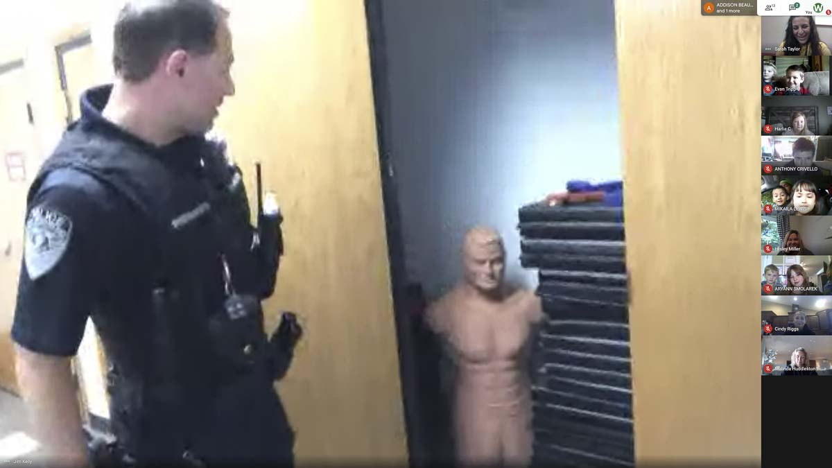 Bob, the practice dummy, likes to surprise officers by hiding in different spots throughout the department. Photo courtesy of Woodland Public Schools