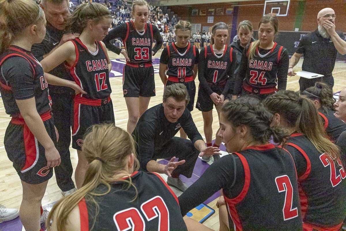 Scott Thompson, the head coach of Camas girls basketball, said he would love it if all 16 teams started their state tournament games at the Yakima SunDome. That is one of the proposals under consideration as the WIAA looks to change the state tournament format. Photo by Mike Schultz