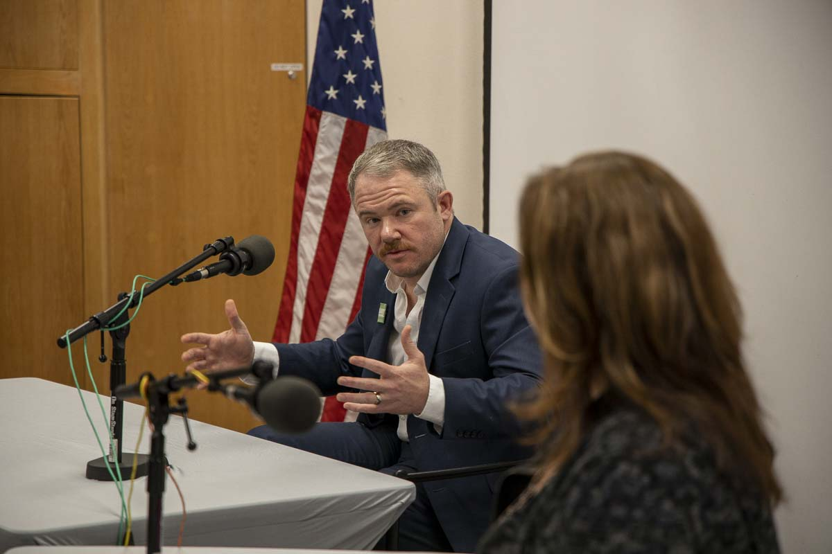 Camas Mayor Barry McDonnell, shown here during last year's Camas Mayoral Debate with former Mayor Shannon Turk, recently shared with council members his thoughts about his six-month tenure as mayor of the city. Photo by Chris Brown
