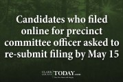 Candidates who filed online for precinct committee officer asked to re-submit filing by May 15