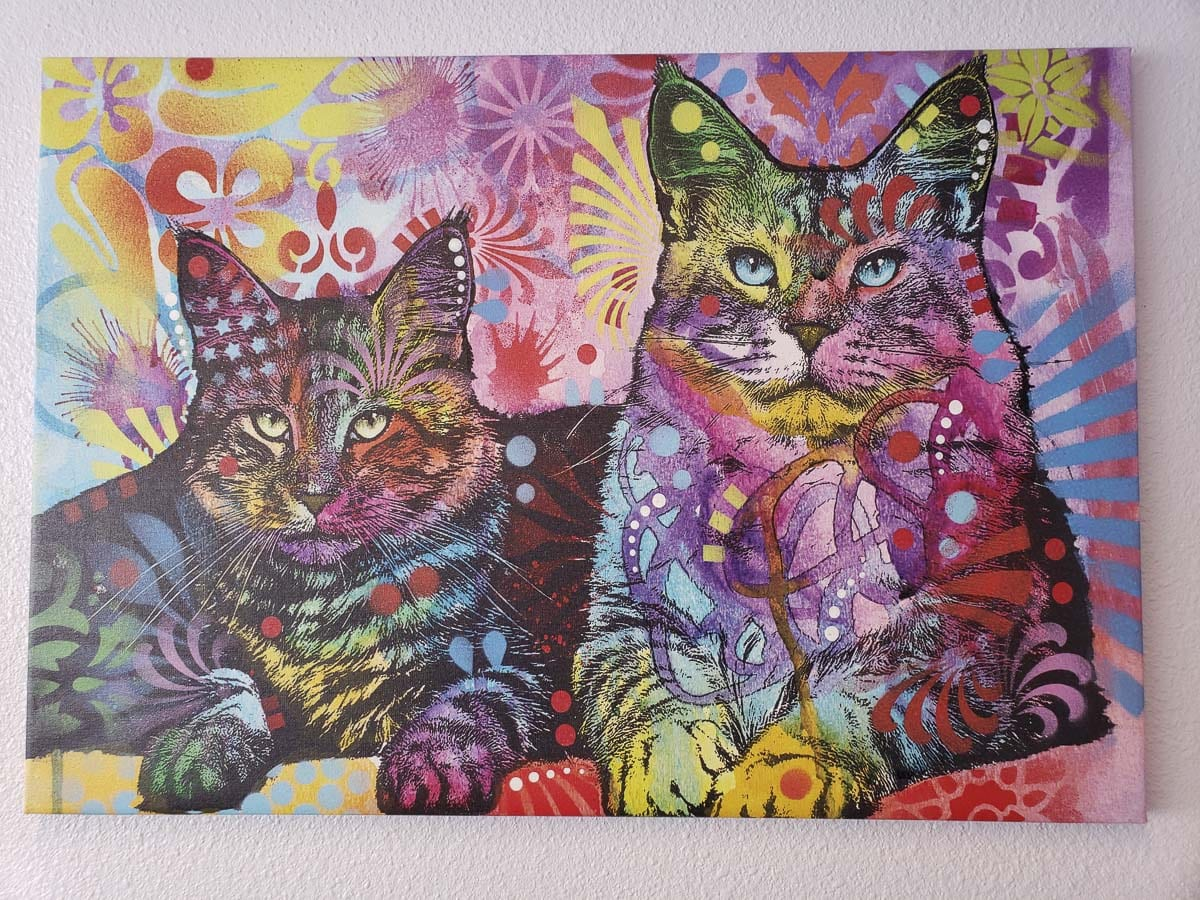 This is the centerpiece of the artwork in the office of Cats Play While You're Away. Photo by Paul Valencia
