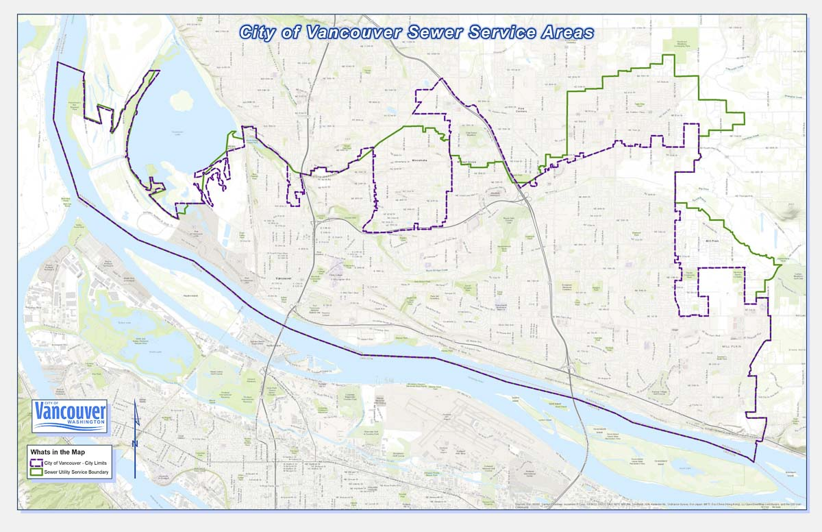 This map shows the city of Vancouver's sewer service area. Map courtesy of city of Vancouver
