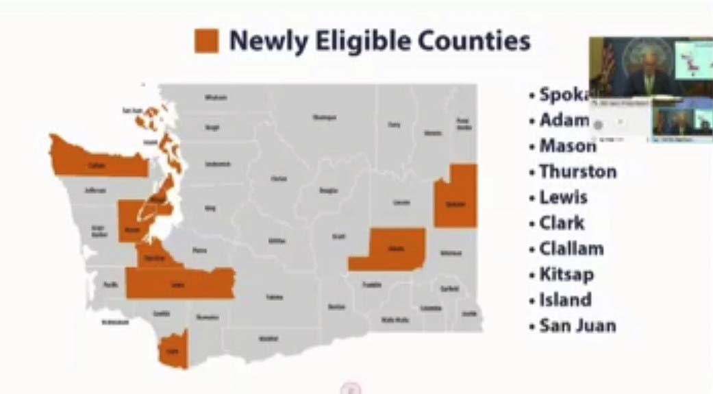This map shows the 10 new counties eligible to apply for a quicker move to Phase 2 of the governor's four-phased reopening plan. Image courtesy TVW.org