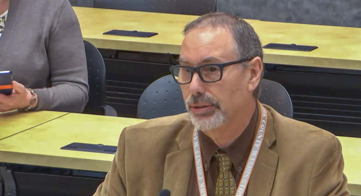 Clark County Public Health Officer Dr. Alan Melnick speaks during a Board of Public Health meeting on Wednesday. Photo courtesy CVTV