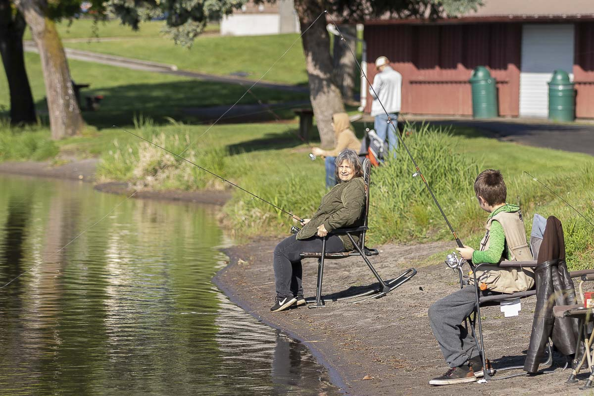 Anglers at Horseshoe Lake were practicing social distancing Tuesday in accordance with requirements the Washington Department of Fish and Wildlife set forth for Tuesday's reopening of some recreational activities. Photo by Mike Schultz