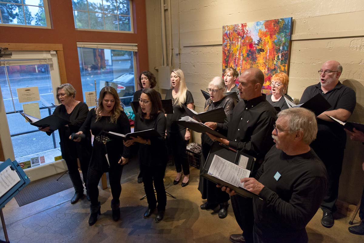 Reprise Choir breaks into song at Burnt Bridge Cellars for one of its four pop-up concerts performed in conjunction with Give More 24! Photo courtesy of Community Foundation for Southwest Washington