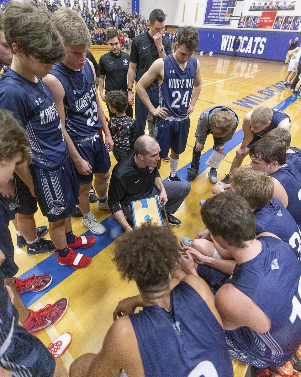 King's Way Christian boys basketball coach Daven Harmeling said any of the three proposed changes to the state basketball tournaments will work. He is just thrilled that seeding committees will take the place of RPI to create the brackets. Photo by Mike Schultz