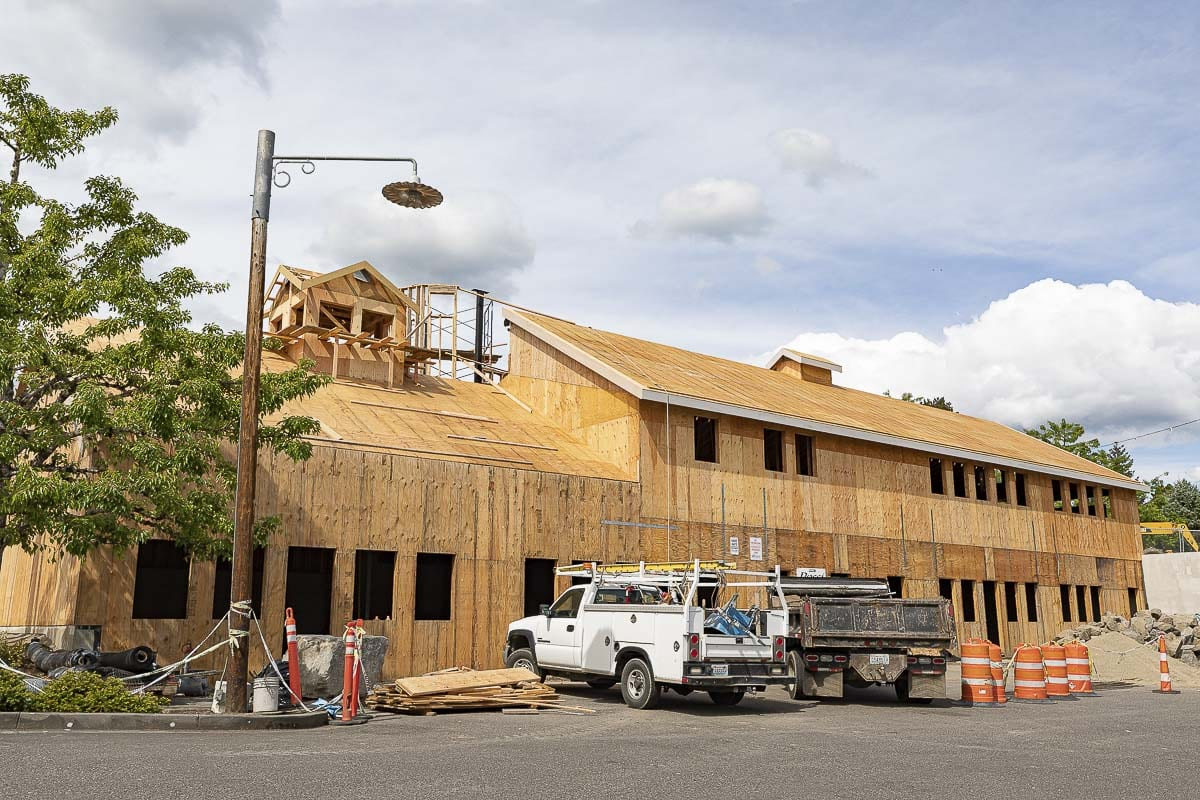 Construction on the third phase of the Heritage Center in downtown La Center is well underway. Photo by Mike Schultz