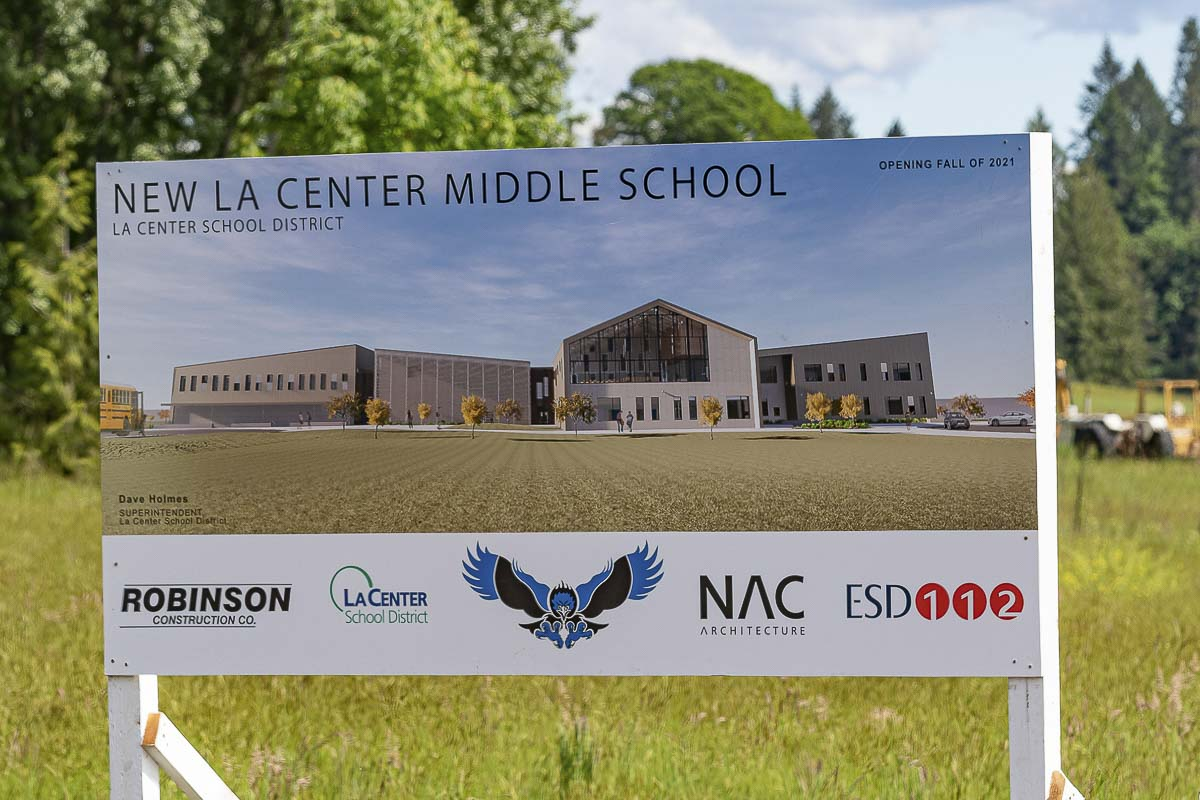 Construction is underway on the new La Center Middle School, which is scheduled to open in the Fall of 2021. Photo by Mike Schultz