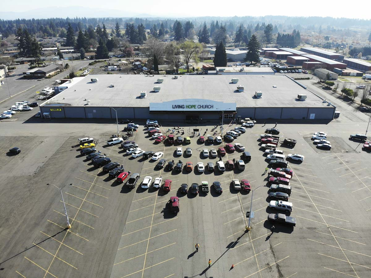 Cars can gather within the safe social distances at the Living Hope Church parking lot for drive-in church services. Photo courtesy of Living Hope Church