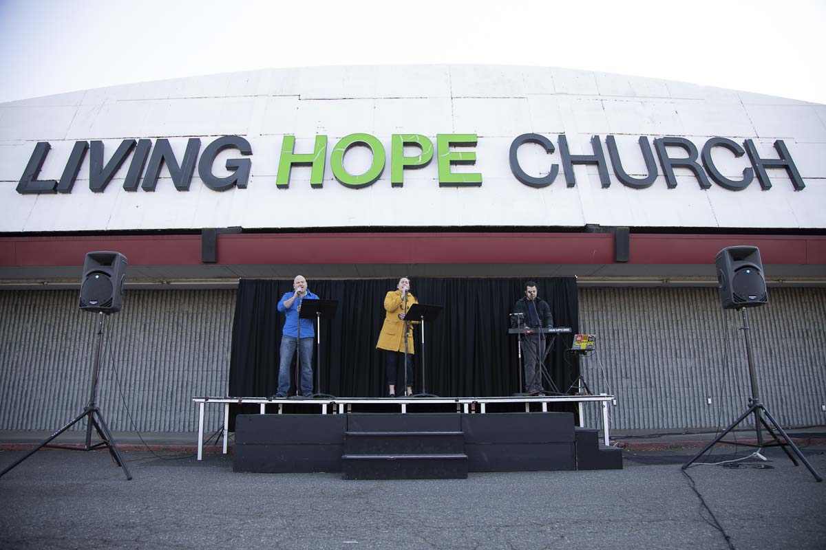 Worship and speaking is broadcast via spears and FM radio during the church's drive-in services. Photo courtesy of Living Hope Church