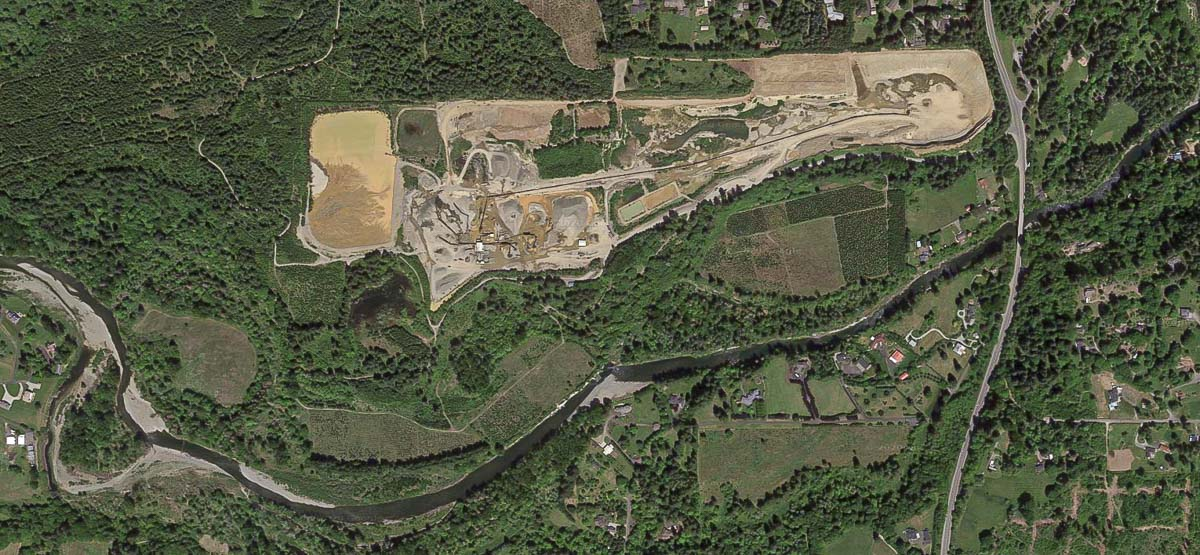 The Cadman pit is located about 500 yards from the East Fork Lewis River, but has not had any previous environmental complaints or hazards filed previously. Photo by Google Maps