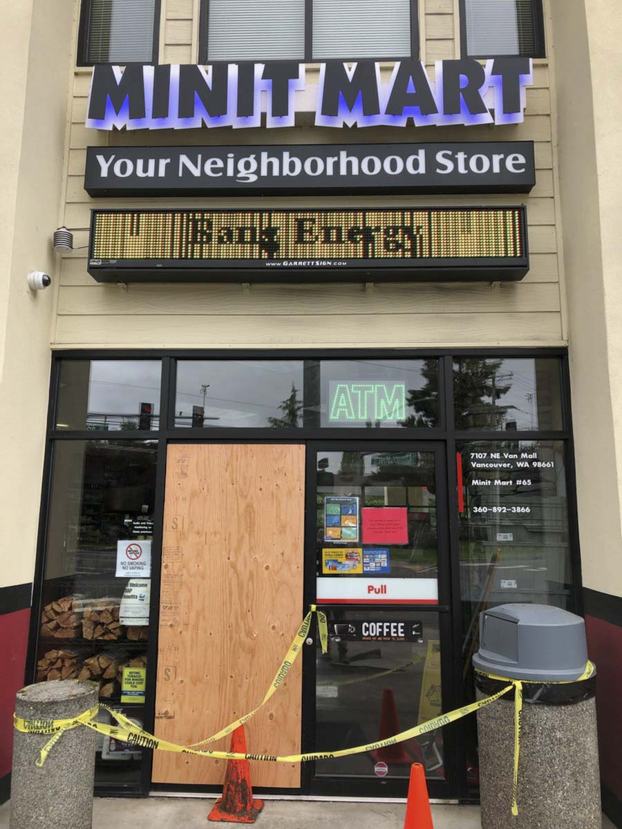Commercial burglaries are up sharply during the stay-at-home order, according to Vancouver Police. This Minit Mart on Vancouver Mall Drive at NE 72nd was broken into early Tuesday morning. Photo by Mike Schultz