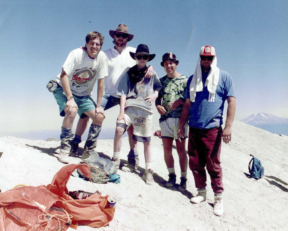Mike Schultz, along with Erik Schultz, Dave Atkinson, Byron Wilkes, and Michael Poteet, on a hike at Mt. St. Helens in 1992. Photo courtesy Mike Schultz