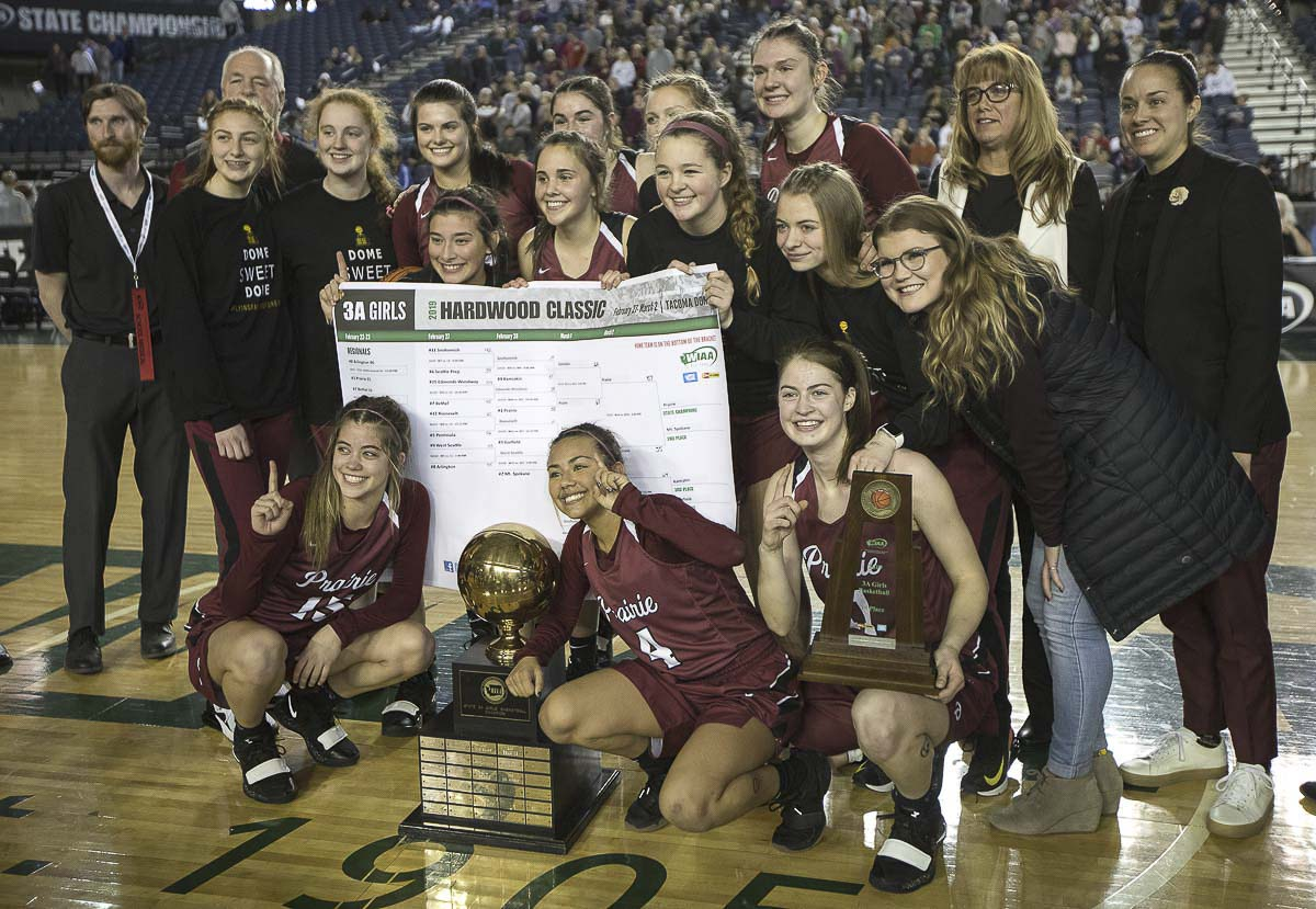 Hala Corral coached the Prairie Falcons to the 2019 state championship. After putting her own career on hold for years, she has accepted a promotion that will lead to a move to Idaho. She has resigned as Prairie's coach. Photo courtesy Patrick Hagerty
