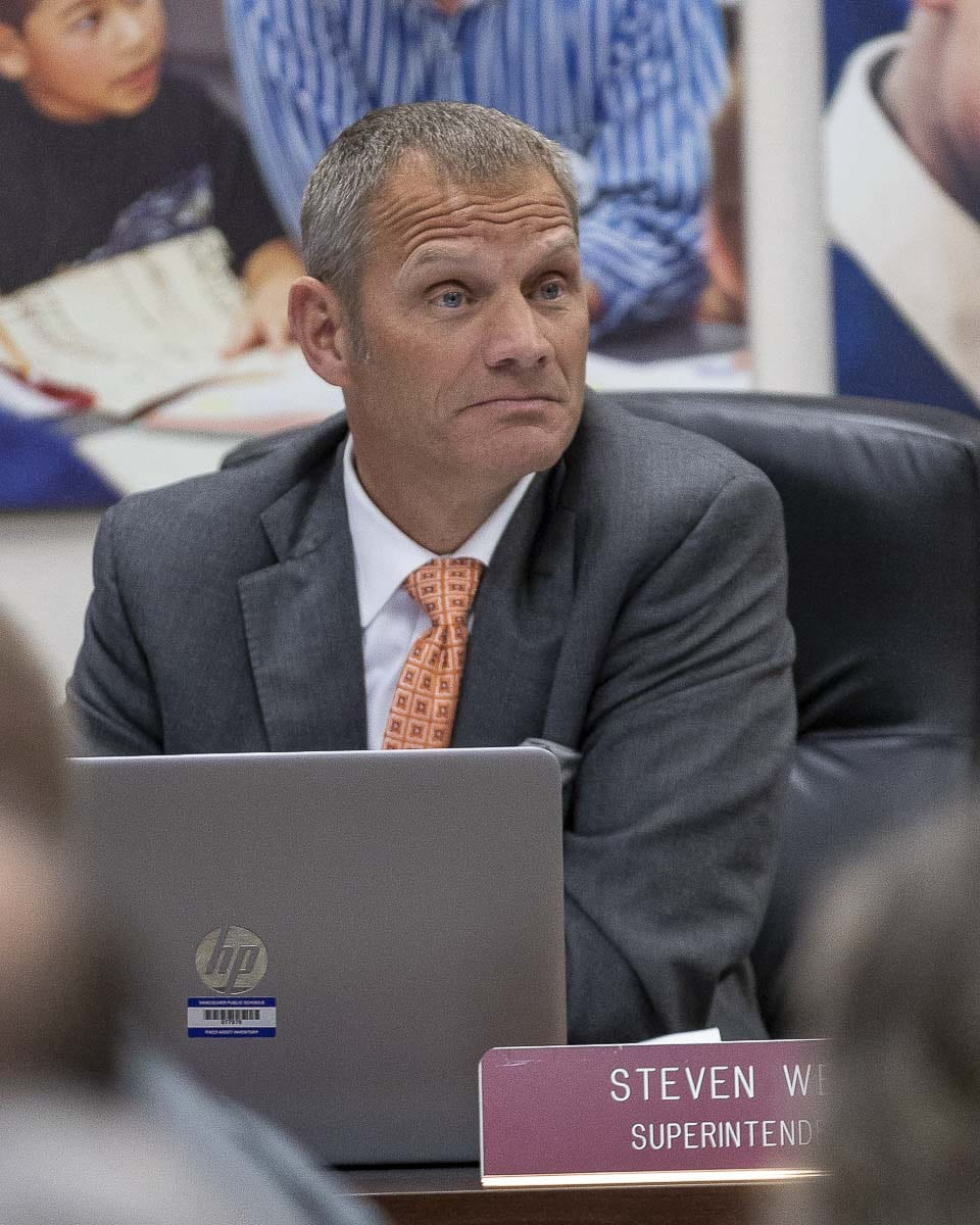 Vancouver Public Schools Superintendent Steve Webb is shown here at a meeting in May of 2019. Photo by Jacob Granneman