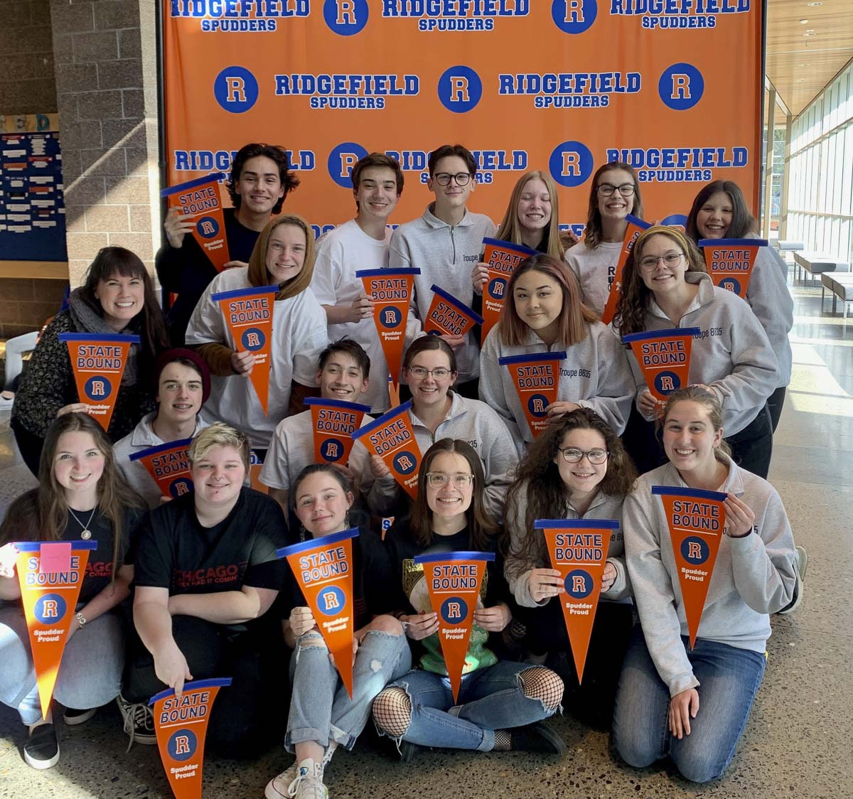 Ridgefield High School's Thespian Troupe was awarded bronze level honor status at this year's Washington State Thespian Festival competition. The troupe is now among 16 thespian troupes out of 100 in the state of Washington who have earned the prestigious status.