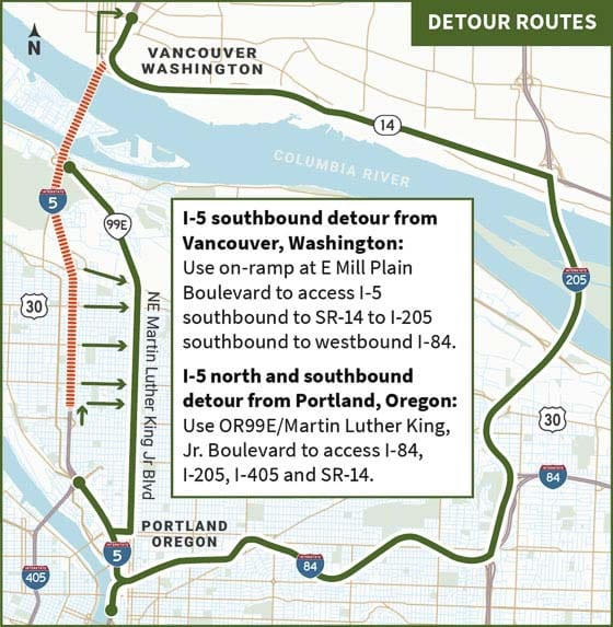 The Oregon Department of Transportation has notified travelers that Interstate 5 will be closed in both directions in North Portland for seven hours over the night of Sat. May 16 from 11 p.m. to 6 a.m.