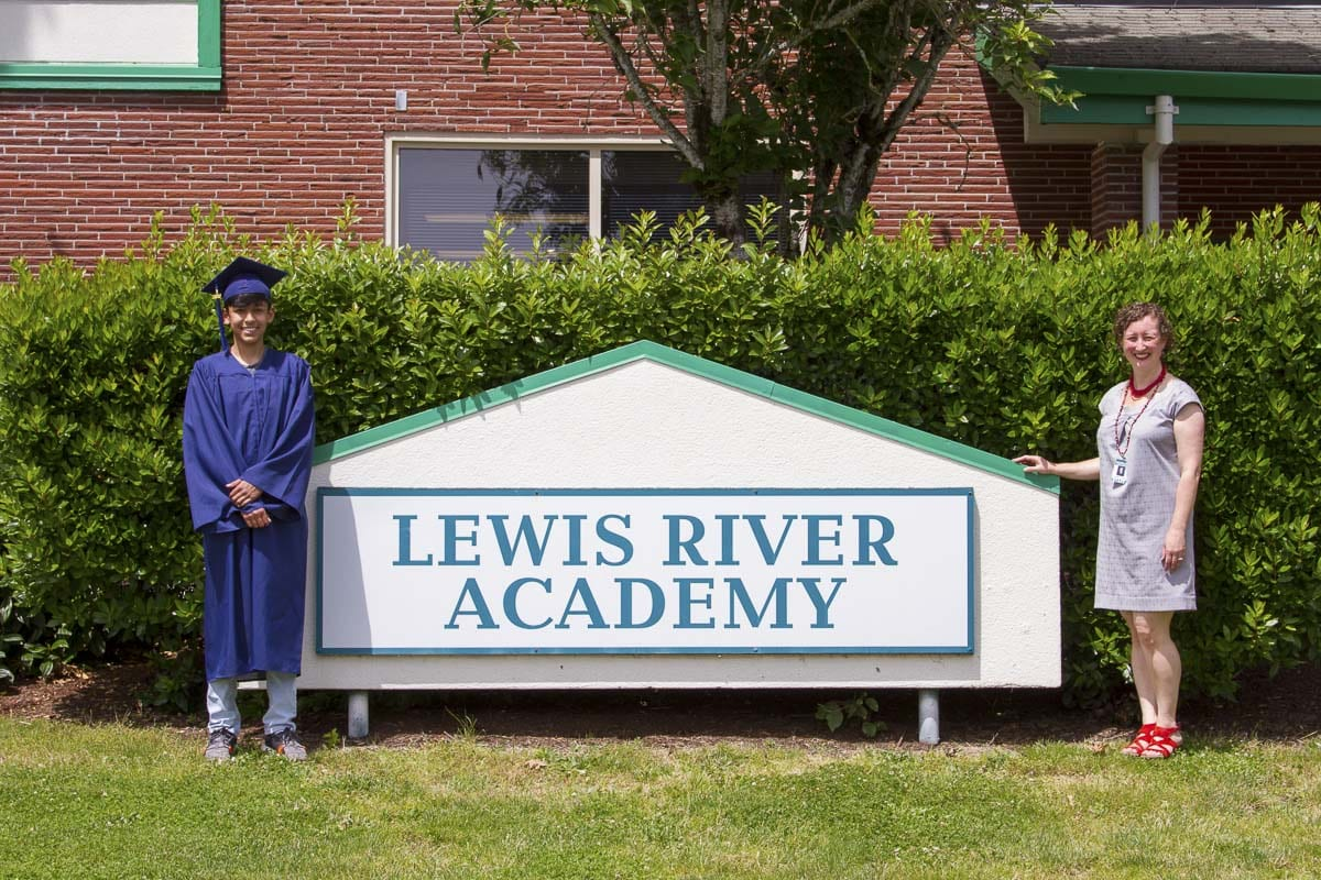 Caleb Osorio is the first student to have attended the Lewis River Academy program since Kindergarten and will be moving on to Woodland High School this fall. Photo courtesy of Woodland Public Schools