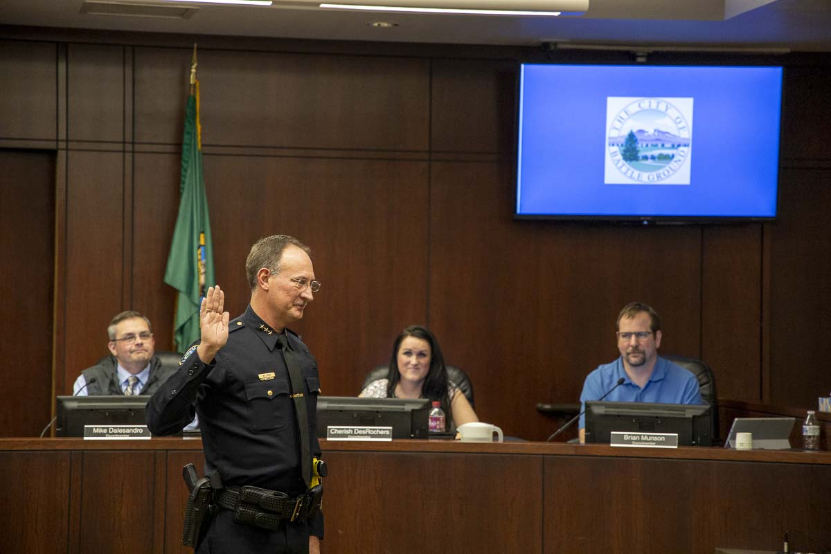 Mike Fort was sworn in as Battle Ground Police chief in February of this year. Photo by Chris Brown