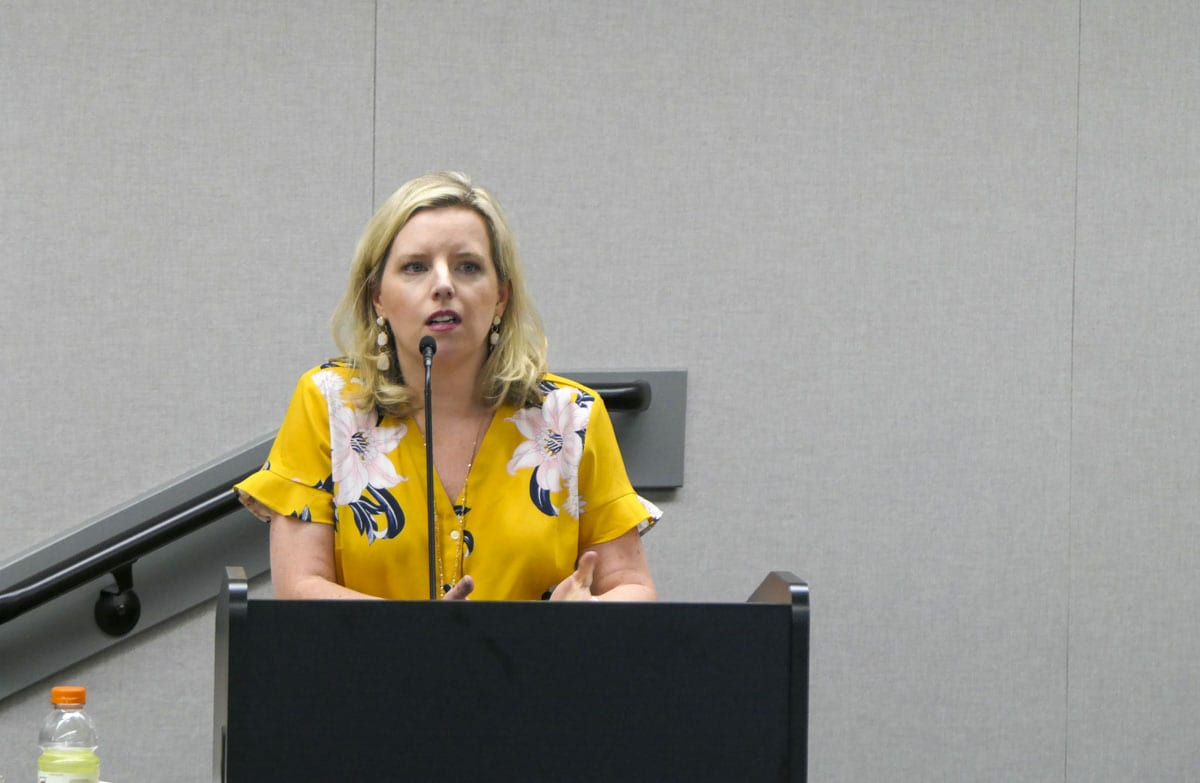 Meagan Hayden, Battle Ground School District chief financial officer, at a public hearing in August, 2019. Photo by Chris Brown