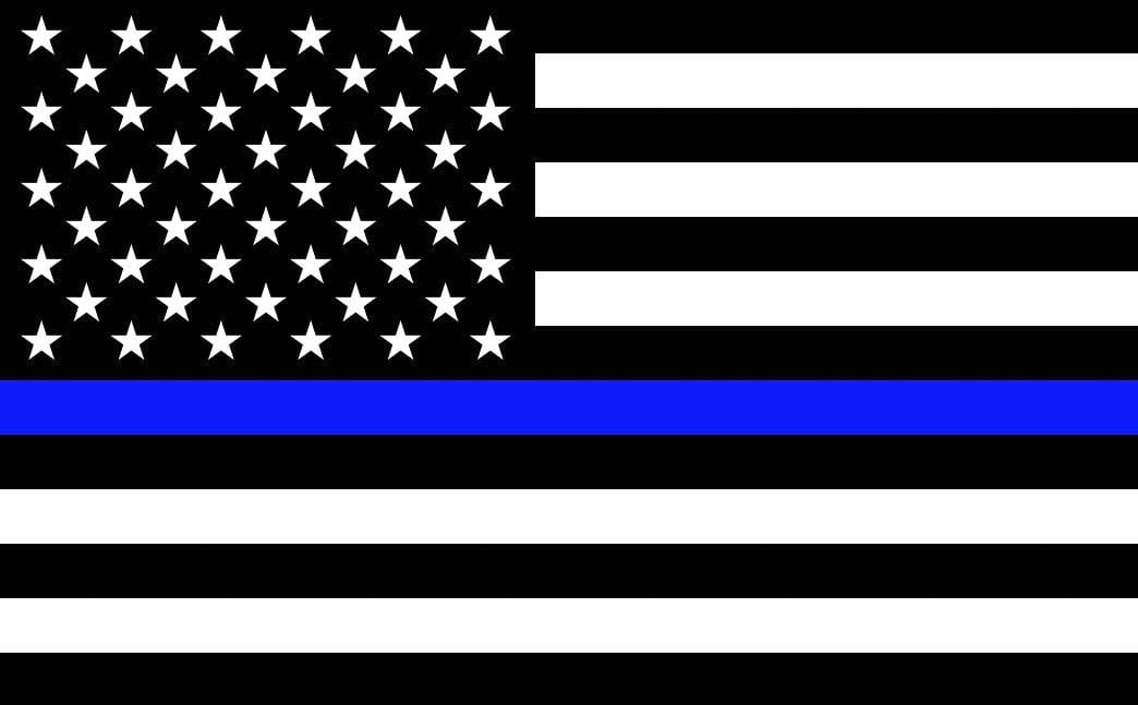 "An example of the ""Thin Blue Line"" American flag is shown here. Photo from Wikimedia Commons"